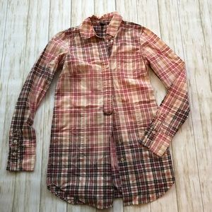 Free People long plaid button down